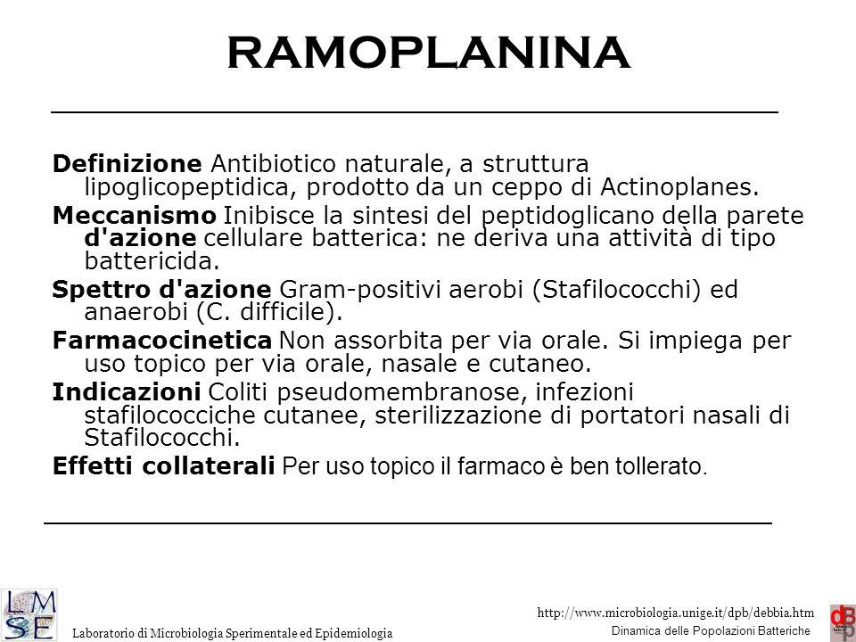 RAMOPLANINA Definizione Antibiotico naturale, a struttura lipoglicopeptidica, prodotto da un ceppo di Actinoplanes.