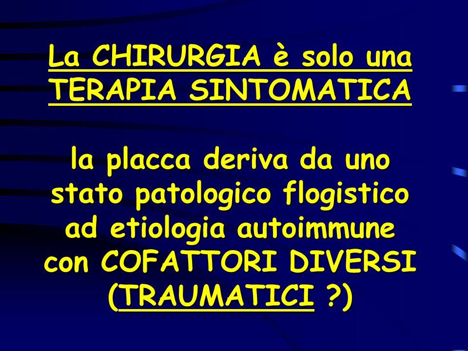 La CHIRURGIA è solo una TERAPIA SINTOMATICA la placca deriva da uno stato patologico flogistico ad etiologia autoimmune con COFATTORI DIVERSI (TRAUMATICI )