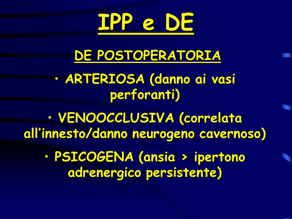 IPP e DE DE POSTOPERATORIA ARTERIOSA (danno ai vasi perforanti)