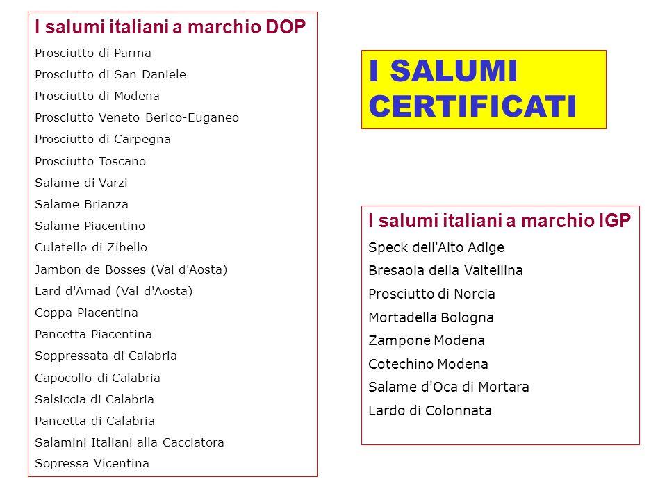 I SALUMI CERTIFICATI I salumi italiani a marchio DOP