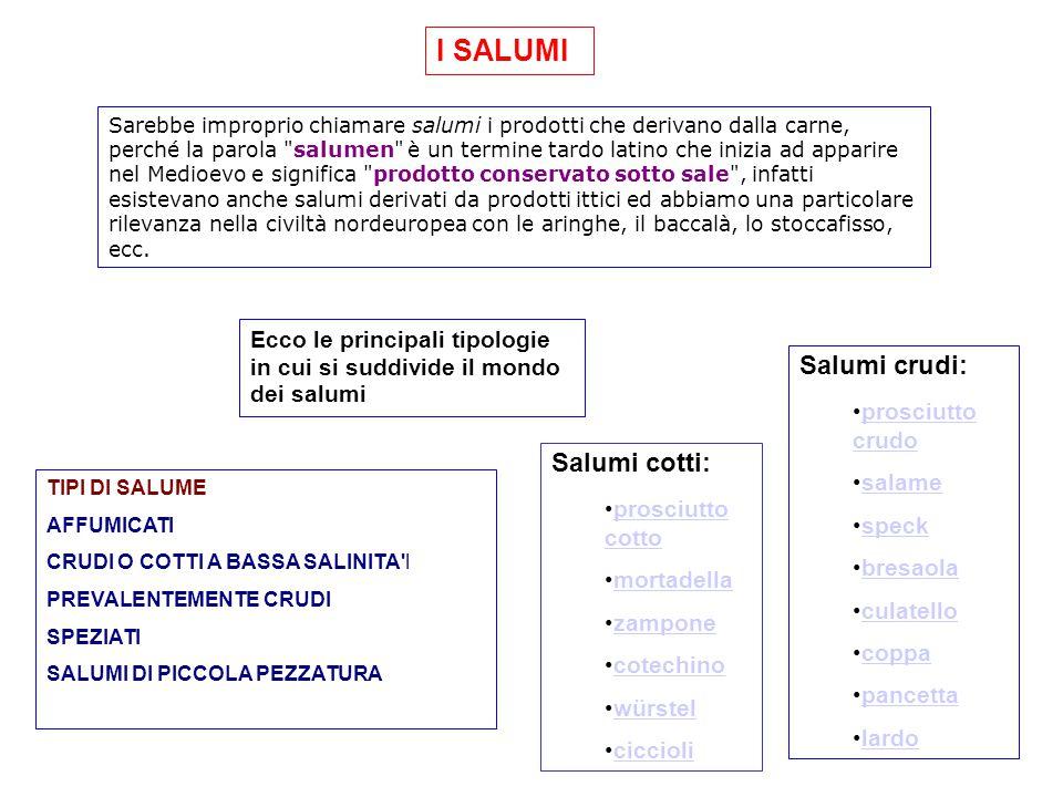 I SALUMI Salumi crudi: Salumi cotti: