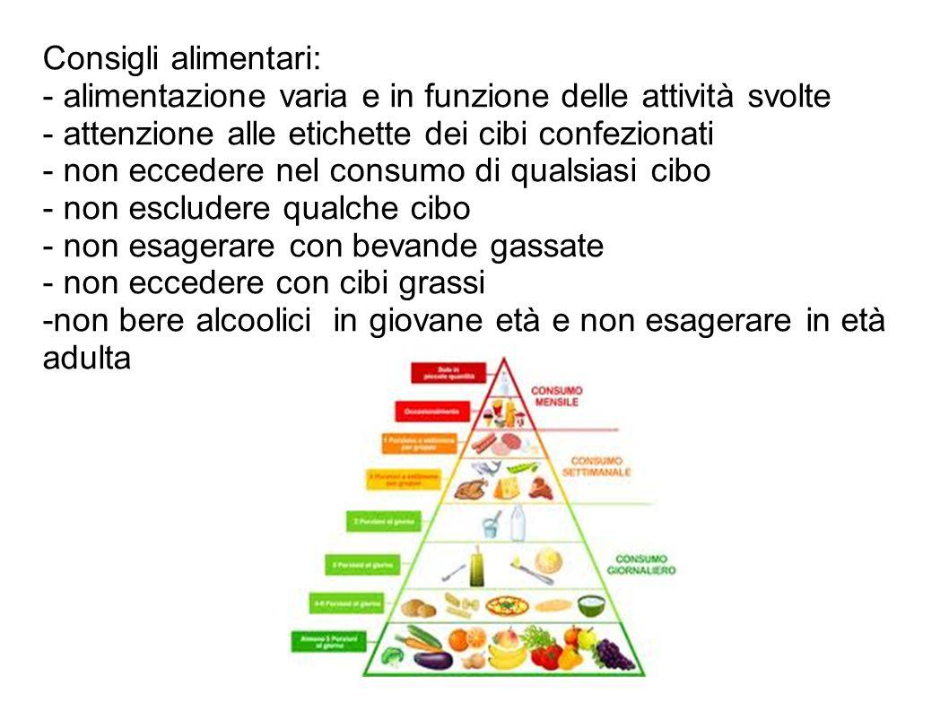 Consigli alimentari: - alimentazione varia e in funzione delle attività svolte. - attenzione alle etichette dei cibi confezionati.