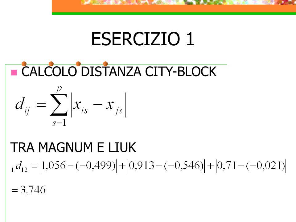 ESERCIZIO 1 CALCOLO DISTANZA CITY-BLOCK TRA MAGNUM E LIUK