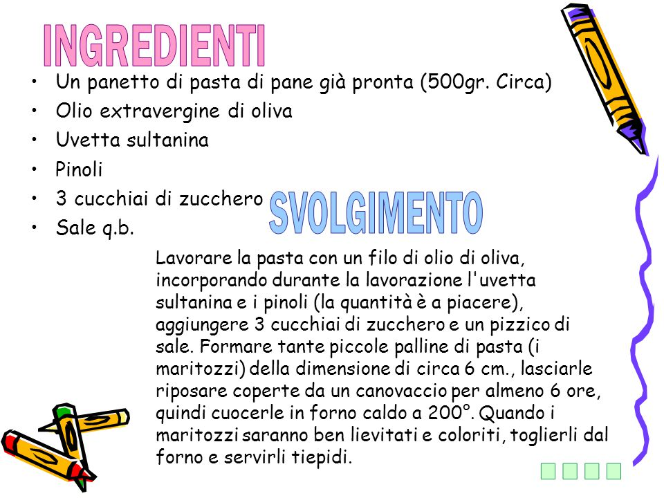 INGREDIENTI SVOLGIMENTO ....