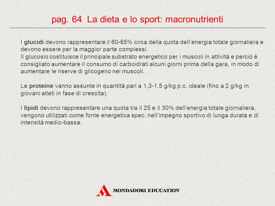 pag. 64 La dieta e lo sport: macronutrienti