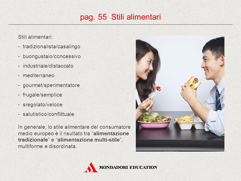 pag. 55 Stili alimentari Stili alimentari: - tradizionalista/casalingo