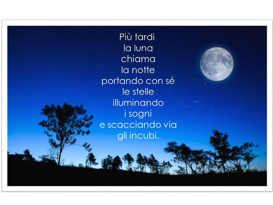 Più tardi la luna chiama la notte portando con sé le stelle illuminando i sogni e scacciando via gli incubi.