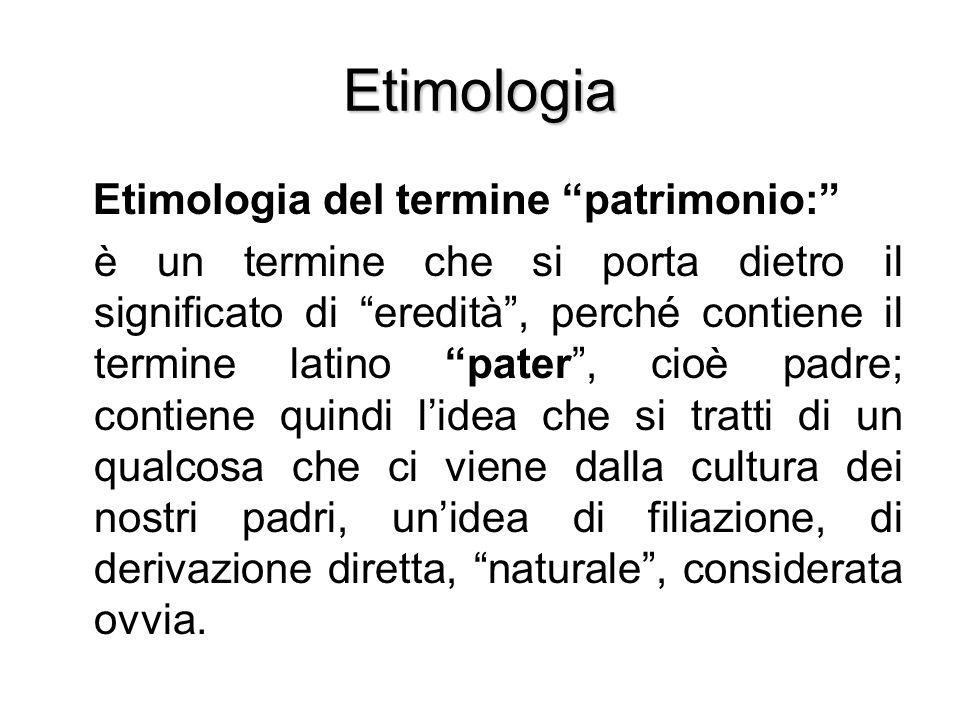 Etimologia Etimologia del termine patrimonio: