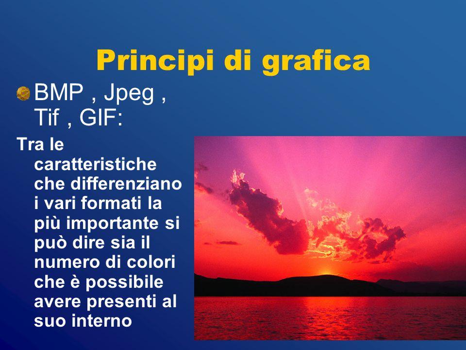 Principi di grafica BMP , Jpeg , Tif , GIF: