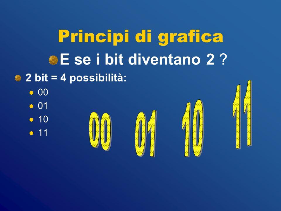 Principi di grafica E se i bit diventano 2 00 01 10 11