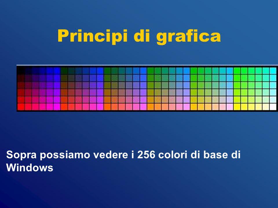 Principi di grafica Sopra possiamo vedere i 256 colori di base di Windows