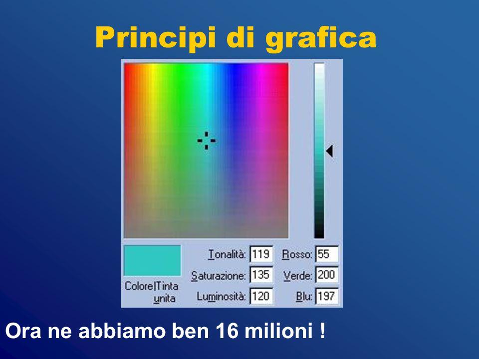 Principi di grafica Ora ne abbiamo ben 16 milioni !