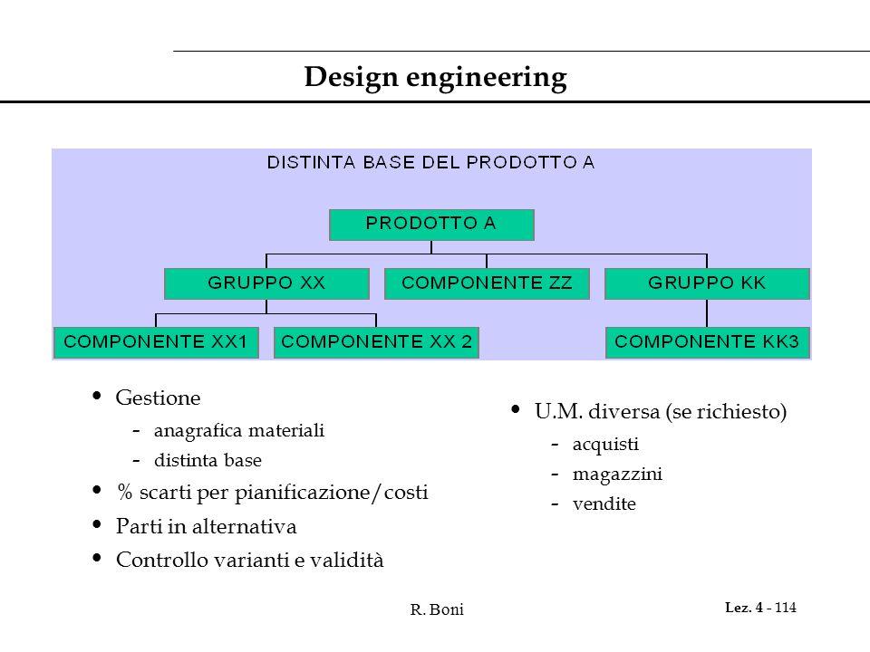 Design engineering Gestione U.M. diversa (se richiesto)