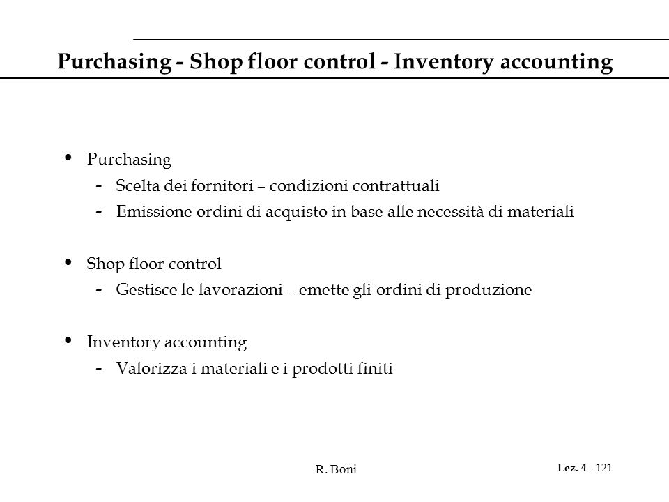 Purchasing - Shop floor control - Inventory accounting