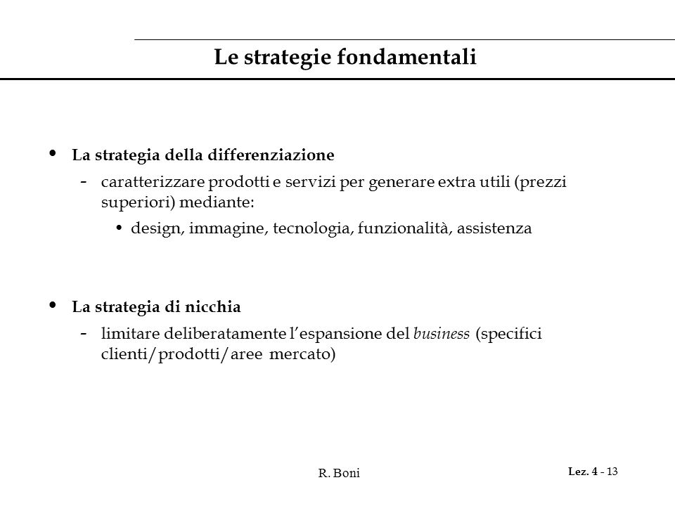 Le strategie fondamentali