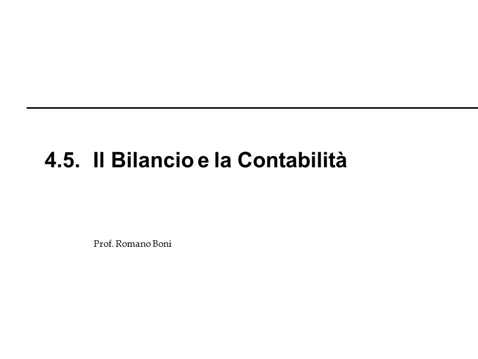 4.5. Il Bilancio e la Contabilità