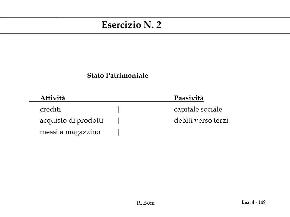 Esercizio N. 2 Stato Patrimoniale Attività Passività