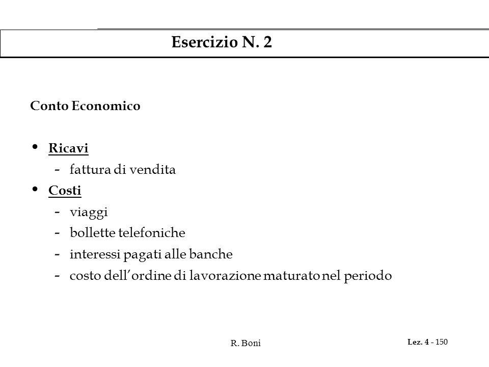 Esercizio N. 2 Conto Economico Ricavi fattura di vendita Costi viaggi