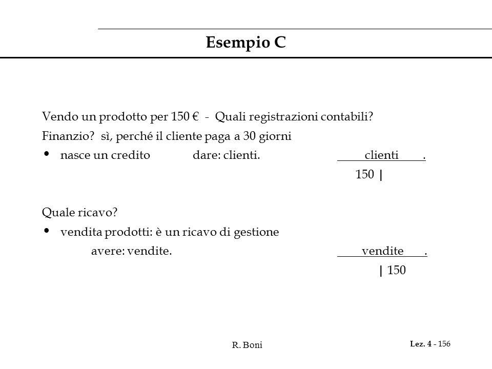 Esempio C Vendo un prodotto per 150 € - Quali registrazioni contabili