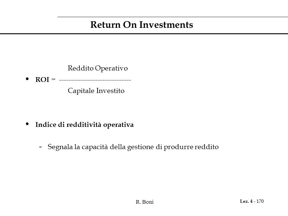 Return On Investments Reddito Operativo