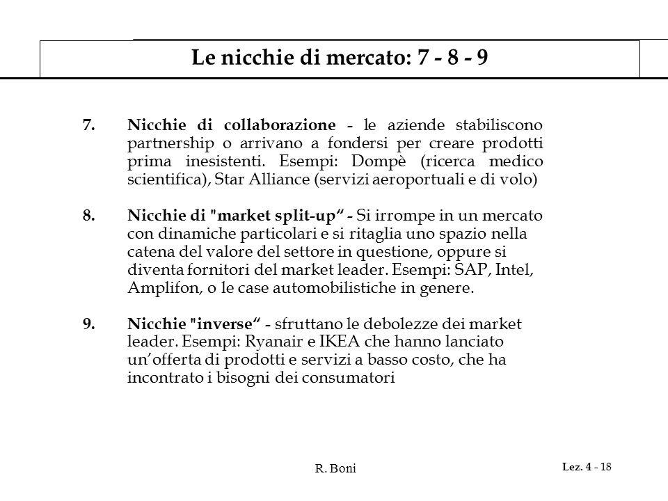Le nicchie di mercato: 7 - 8 - 9