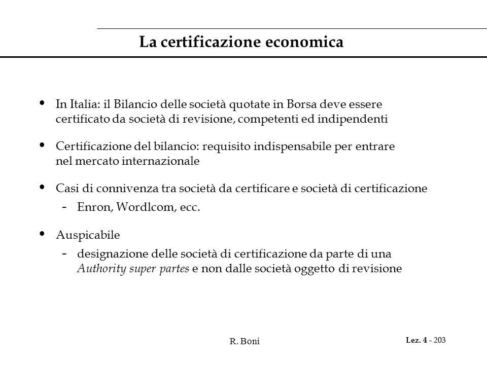 La certificazione economica