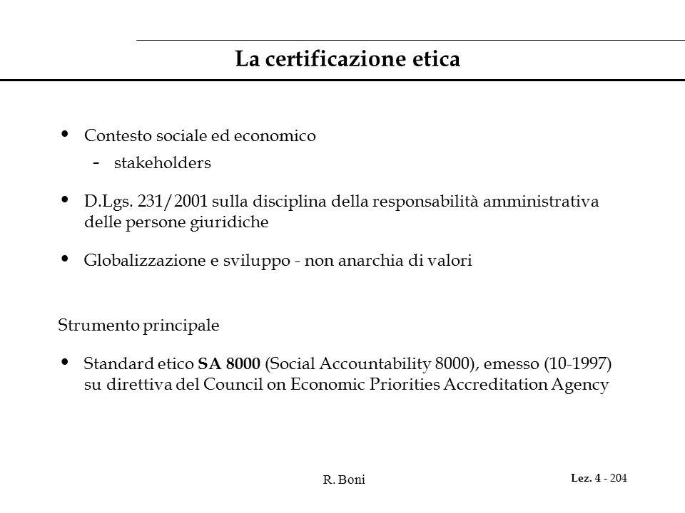 La certificazione etica