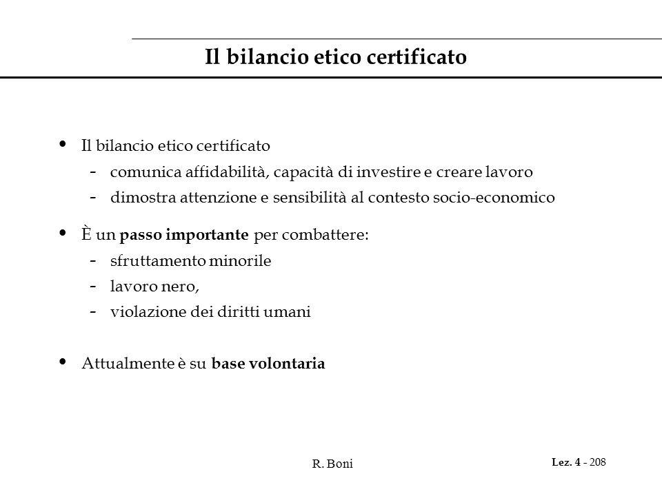 Il bilancio etico certificato