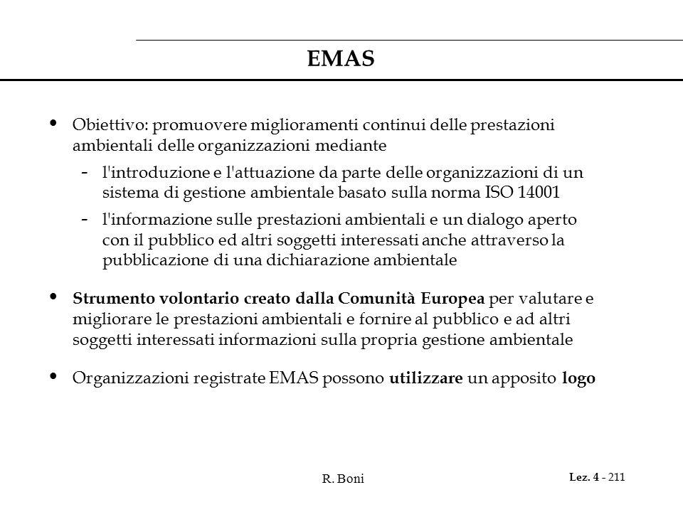 EMAS Obiettivo: promuovere miglioramenti continui delle prestazioni ambientali delle organizzazioni mediante.