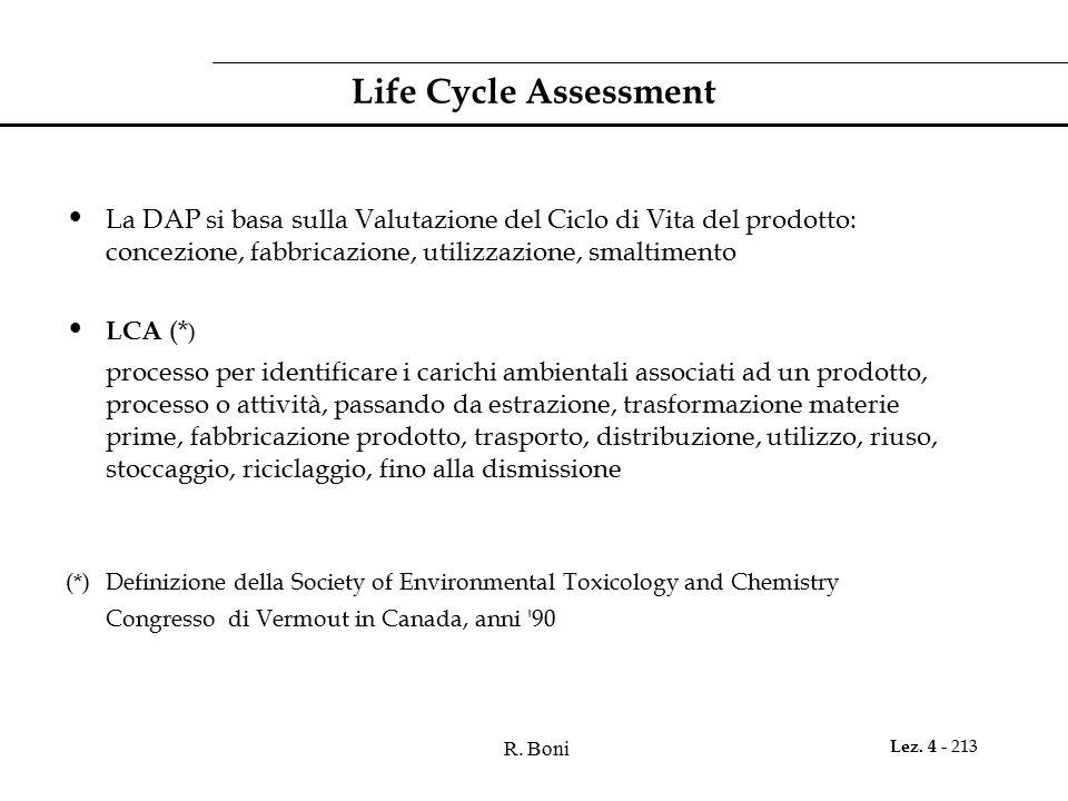Life Cycle Assessment La DAP si basa sulla Valutazione del Ciclo di Vita del prodotto: concezione, fabbricazione, utilizzazione, smaltimento.