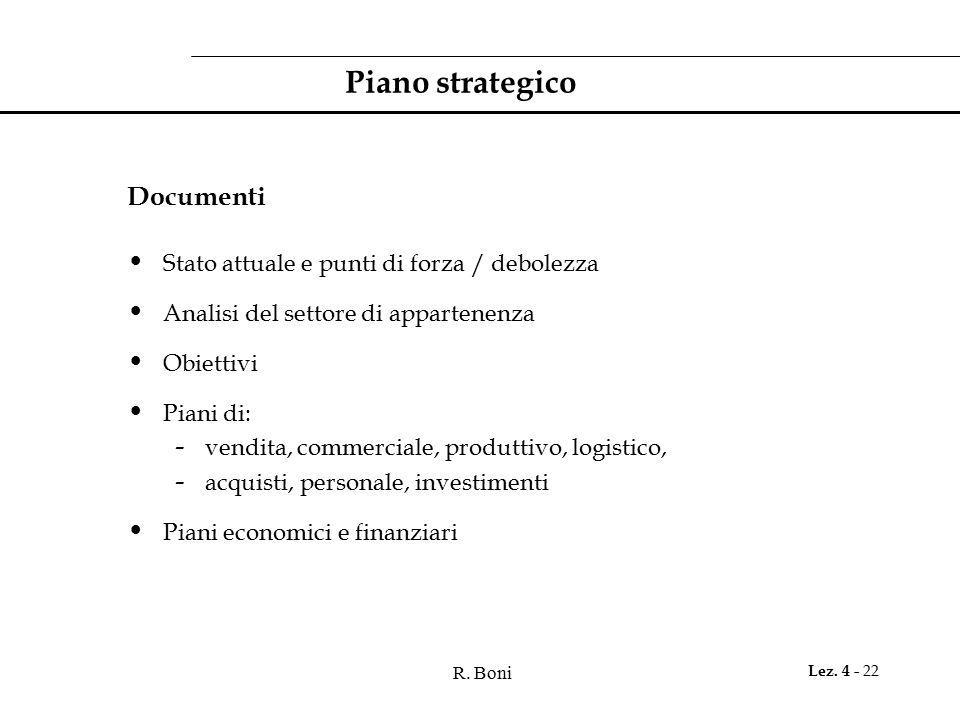 Piano strategico Documenti Stato attuale e punti di forza / debolezza