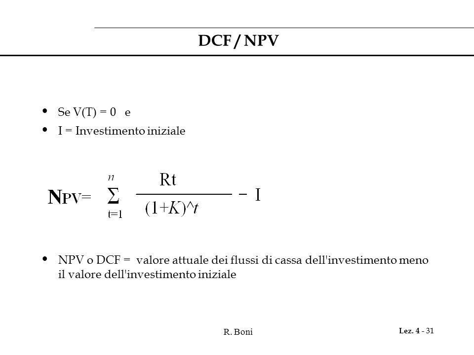 DCF / NPV Se V(T) = 0 e I = Investimento iniziale