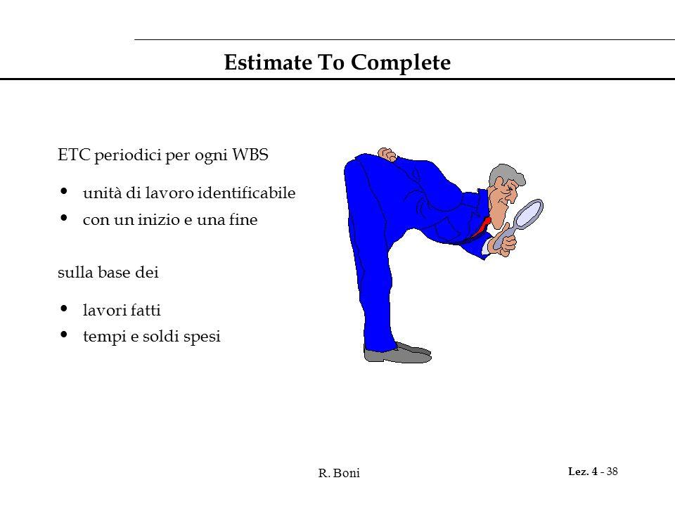 Estimate To Complete ETC periodici per ogni WBS