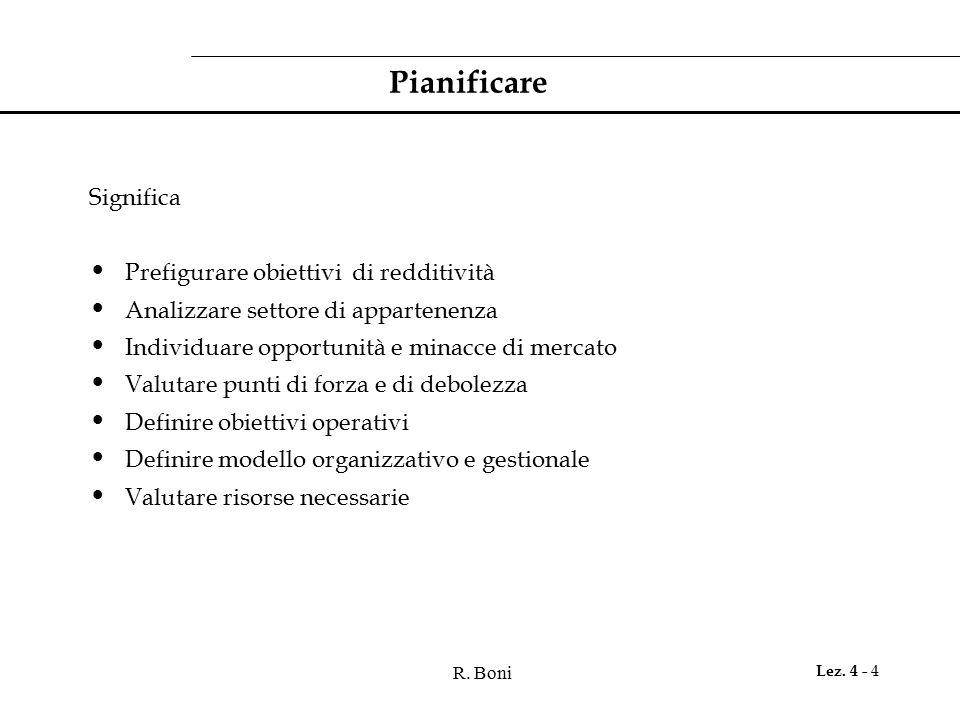 Pianificare Significa Prefigurare obiettivi di redditività