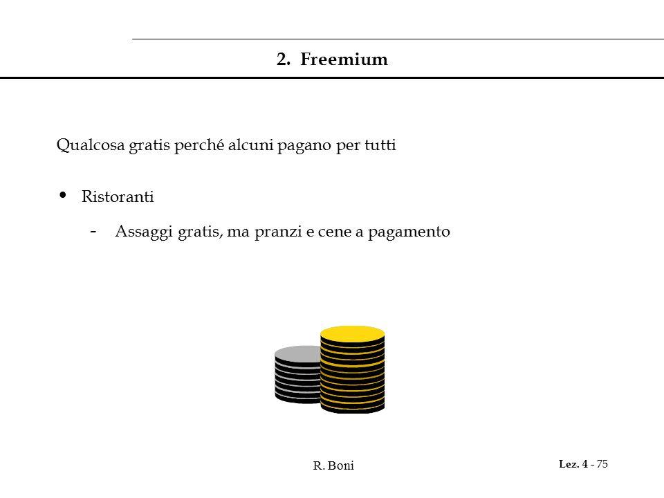 2. Freemium Qualcosa gratis perché alcuni pagano per tutti Ristoranti