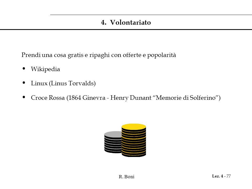 4. Volontariato Prendi una cosa gratis e ripaghi con offerte e popolarità. Wikipedia. Linux (Linus Torvalds)