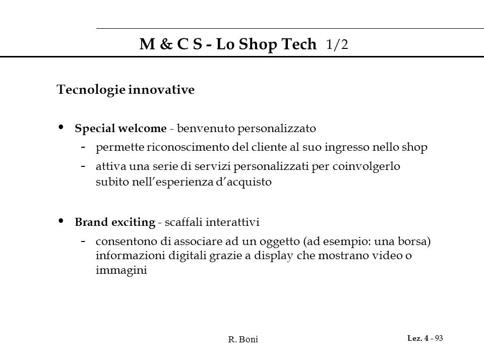 M & C S - Lo Shop Tech 1/2 Tecnologie innovative