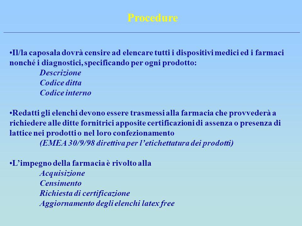 Procedure Il/la caposala dovrà censire ad elencare tutti i dispositivi medici ed i farmaci nonché i diagnostici, specificando per ogni prodotto:
