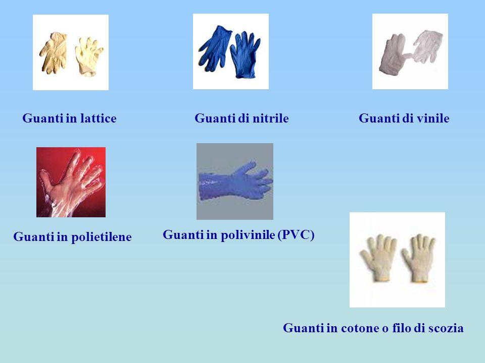 Guanti in lattice Guanti di nitrile. Guanti di vinile. Guanti in polietilene. Guanti in polivinile (PVC)