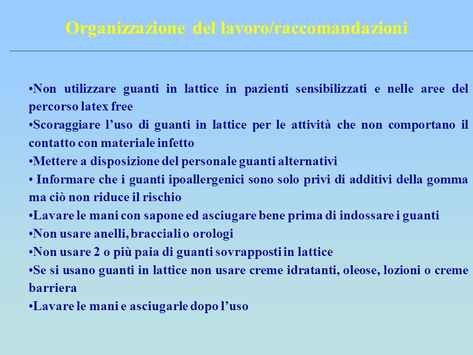 Organizzazione del lavoro/raccomandazioni
