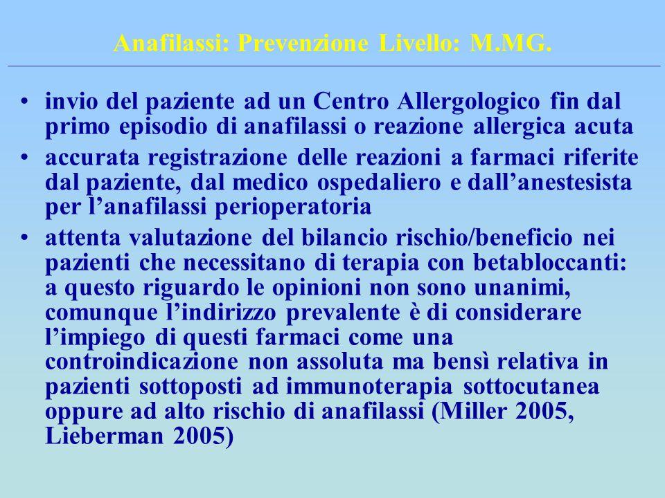 Anafilassi: Prevenzione Livello: M.MG.