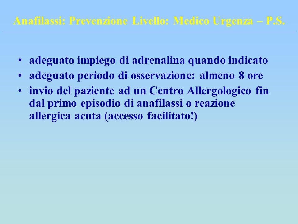 Anafilassi: Prevenzione Livello: Medico Urgenza – P.S.