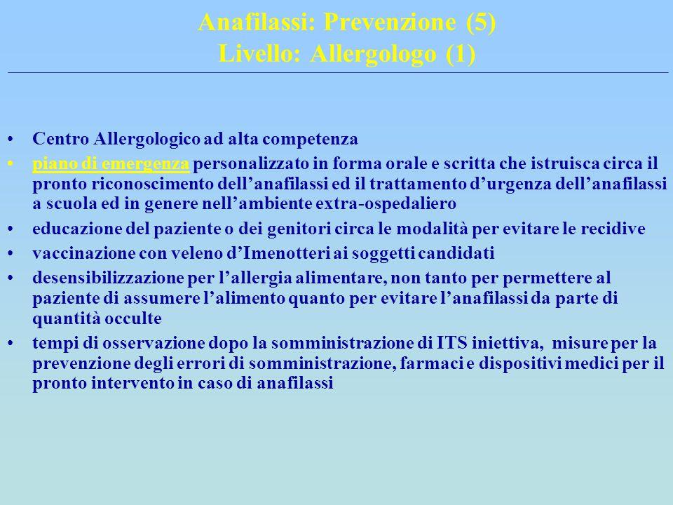 Anafilassi: Prevenzione (5) Livello: Allergologo (1)