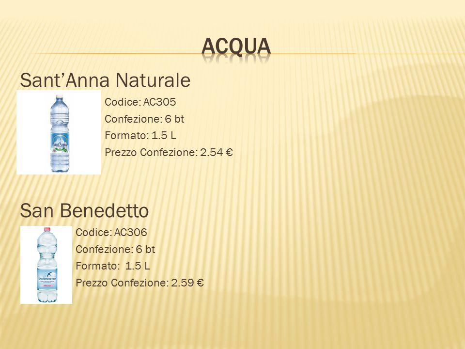 ACQUA Sant'Anna Naturale San Benedetto Codice: AC305 Confezione: 6 bt