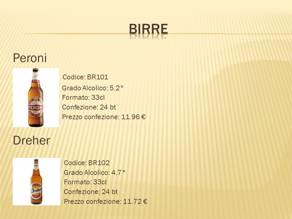 Birre Peroni Codice: BR101 Dreher Grado Alcolico: 5.2° Formato: 33cl