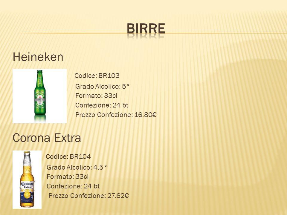 BIRRE Heineken Codice: BR103 Corona Extra Codice: BR104