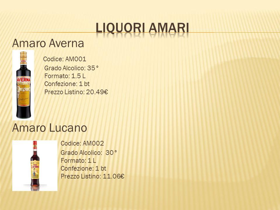 LIQUORI AMARI Amaro Averna Amaro Lucano Codice: AM001 Codice: AM002