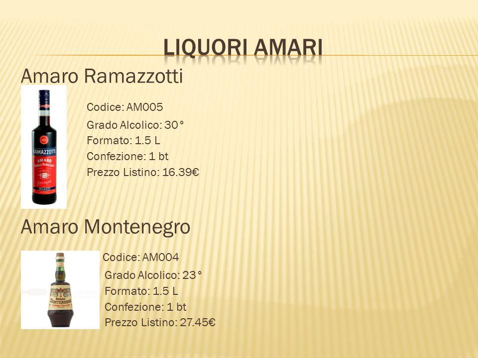 Liquori AmARI Amaro Ramazzotti Codice: AM005 Amaro Montenegro