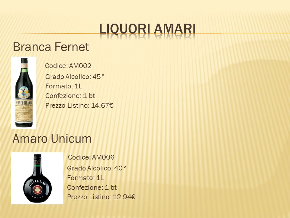 LIQUORI AMARI Branca Fernet Codice: AM002 Amaro Unicum Codice: AM006