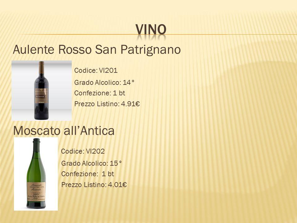 Vino Aulente Rosso San Patrignano Codice: VI201 Moscato all'Antica